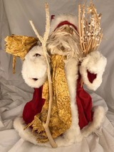 "Santa Tree Topper, tabletop decor ,Vintage wood staff unusual 15"" - $20.10"
