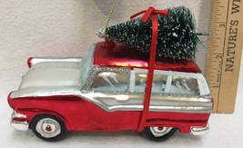 Station Wagon Glass Ornaments Colorful Christmas Tree on Top Holiday Red... - $14.84