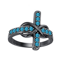 50 ct Round London Blue Topaz 18K Black Gold Over 925 Silver Infinity Cross Ring - $84.99