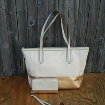 Fossil Sydney Metallic Beige Rose Gold Colorblock Tote Shopper Bag and W... - $90.00