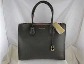 MICHAEL KORS MERCER OLIVE GREEN LARGE STUDIO CONVERTIBLE LEATHER TOTE BAG - $262.35