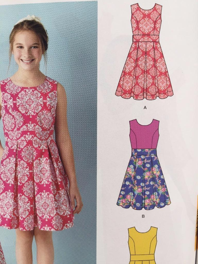 e125f262902 Simplicity Sewing Pattern 1382 Girls Child Dress Back Variations Size 8-16  New