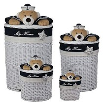 Decozen Set of 4 White Willow Baskets with Blue Fabric Star and Navy Bea... - $190.19
