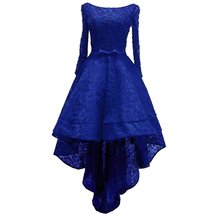 Beaded Lace High Low Long Sleeves Formal Prom Homecoming Cocktail Dreses... - $126.99