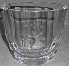 Vintage Orrefors Crystal Signed Etched Vase Girl w/Birds - Flowers Sweden - $29.69