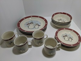 Royal Seasons 16 Pc Stoneware Dinnerware Snowman Christmas EUC 4 place S... - $49.49