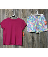 Wonder Nation Girls Pull On Shorts Size XXL 18 Fruit Pattern Pink Top SS... - $19.79