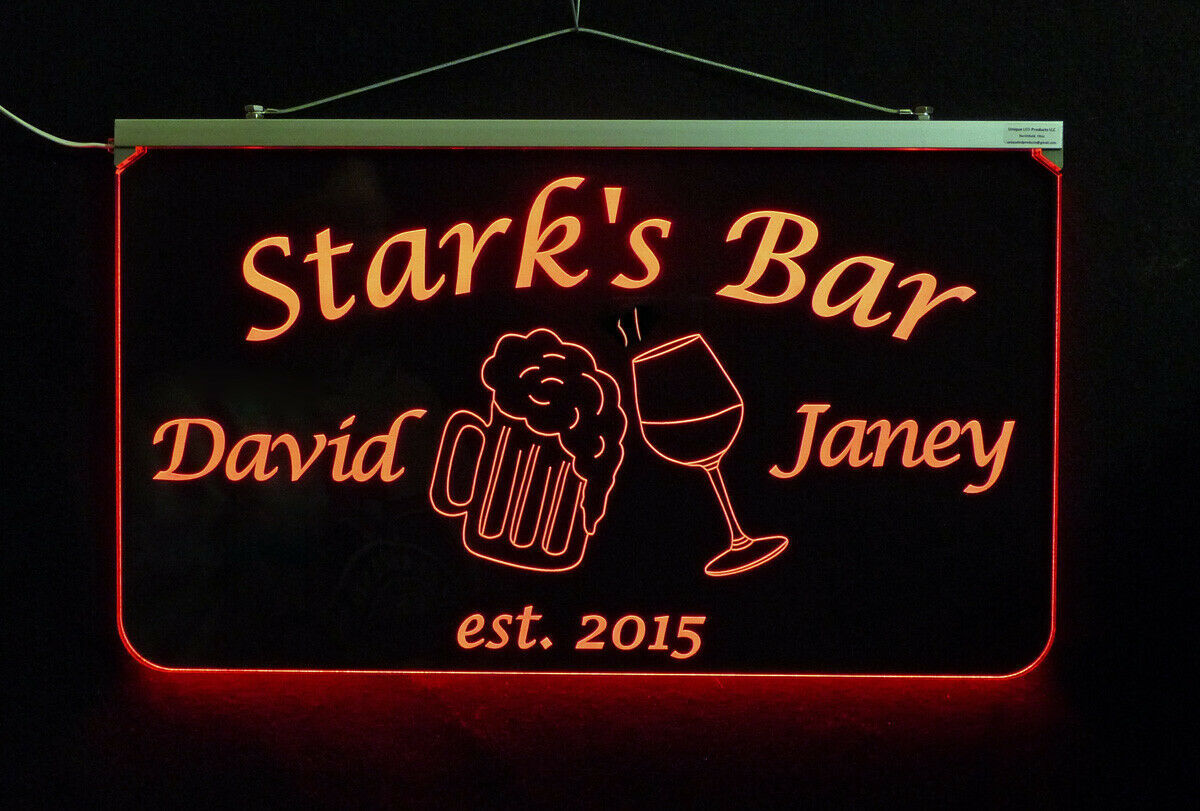 Personalized LED Man Cave Bar Sign- Garage Sign, Gift for Dad -Beer mugs image 8
