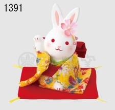 Chirimen Kimono Maneki Usagi Japanese pottery l... - $33.92