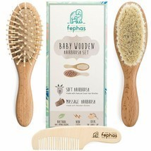 Nice! Eco-Friendly Goat Hair Wooden Bristles Massage Brushes Comb Set of 3 - £28.59 GBP