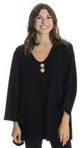 Sz 10 Joseph Ribkoff Black Long Sleeve Round Neck Two Wooden Button Tuni... - $57.42