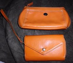 2 Orange Wallets - Crown Smart Phone Pouch Wristlet + Nine West Cosmetic... - $10.88