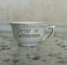 Vintage Miniature Gold Trim Cup Christ In Gethsemane Porcelain  Teacup - $11.64
