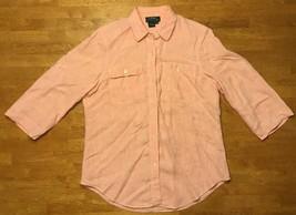 Ralph Lauren Women's Orange 3/4 Sleeve 100% Linen Dress Shirt - Size: Me... - $14.03