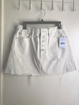 Free People We The Free Off White Button Fly Distressed Jean Skirt Sz 30... - $25.04