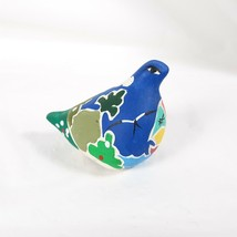 Bird Abstract Blue Ceramic Figurine Boat Folk Art Style Small - $16.00