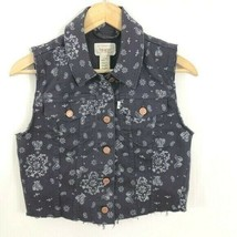 Levi's Cropped Blue Paisley Denim Jean Vest boho womens Small - $29.70