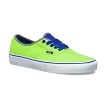 VANS Authentic (Brite) Neon Green/Blue Men's Skate Shoes NEW - $47.95