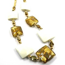 """NECKLACE WITH WHITE MURANO SQUARE GLASS & GOLD LEAF, MADE IN ITALY, 50cm, 20"""" image 2"""