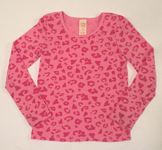 Faded Glory girls' knit top size L 10-12 long sleeves pink animal print - $2.00