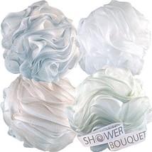Loofah Bath Sponge XL 75g Soft Set by Shower Bouquet: 4 Pack Pastel Colors - Ext