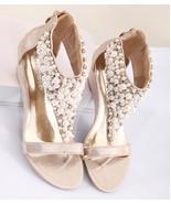 Golden Women Pearls Bridals Wedges Sandals,Golden Ladies Wedding Wedges sandals - $39.99