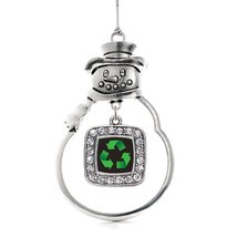 Inspired Silver Recycle Classic Snowman Holiday Christmas Tree Ornament With Cry - $14.69