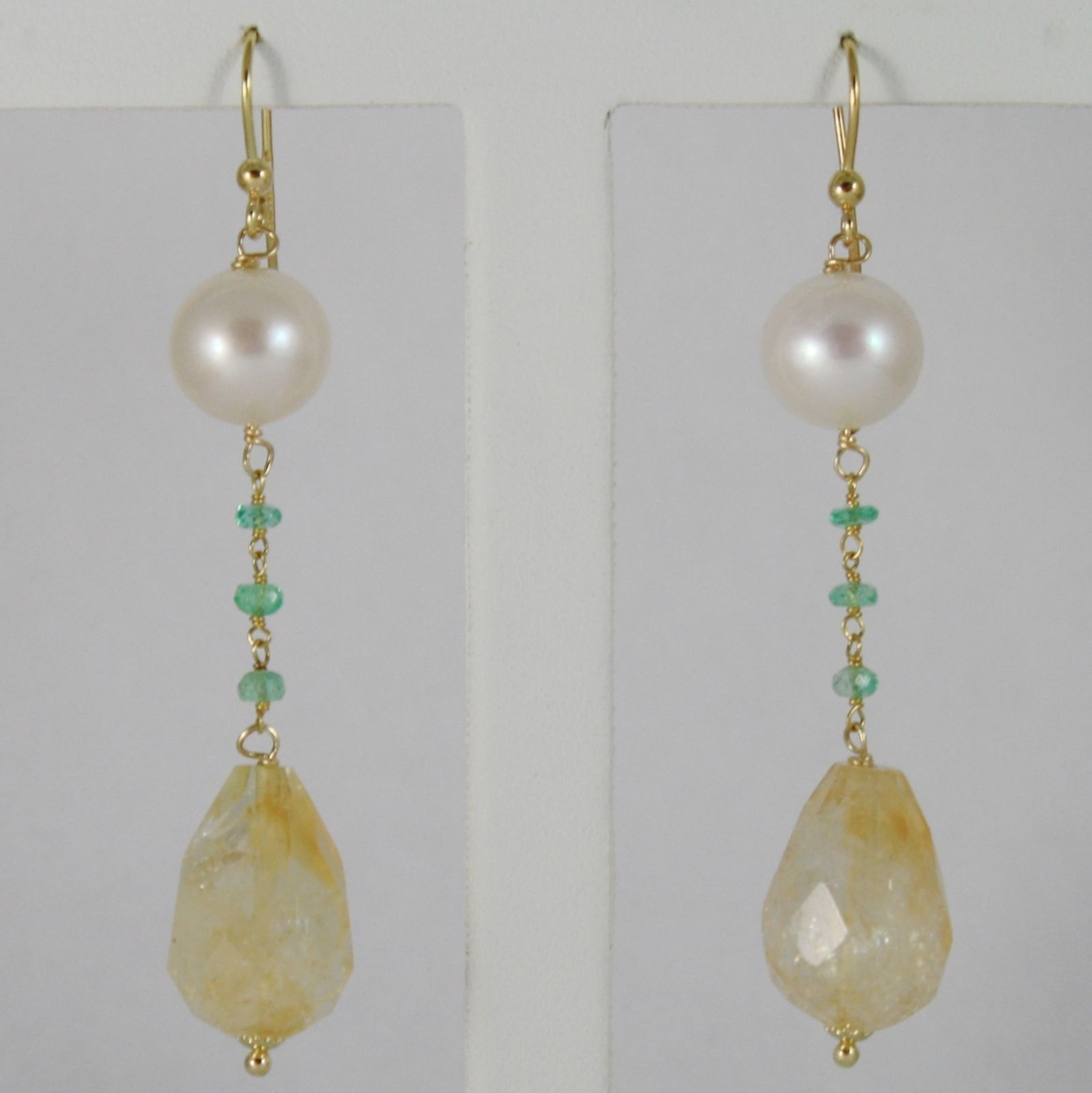 18K YELLOW GOLD PENDANT EARRINGS, CITRINE, EMERALD AND PEARLS, MADE IN ITALY