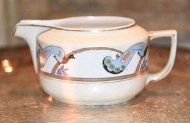 "PITCHER CREAMER BLUE PEACOCKS GOLD Meito China Japan Handpainted 3 1/4""h... - $21.99"