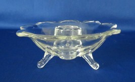 Fenton, Candlestick Holder, Clear Lotus 3 Toed, No. 1234, circa 1930's - $9.00