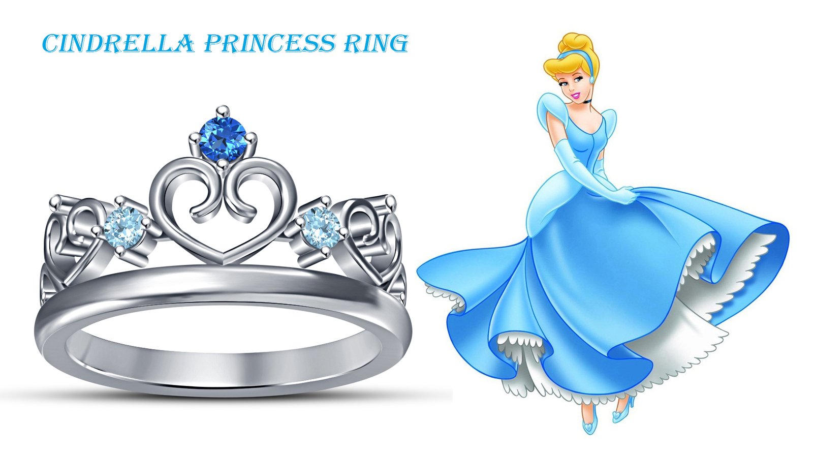Primary image for Cindrella Disney Princess Wedding Ring 14k White Gold 925 Silver Round Multi CZ