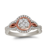0.51 Ct Round Natural Diamond 14k White Gold Halo Engagement Ring For Women - $544.49