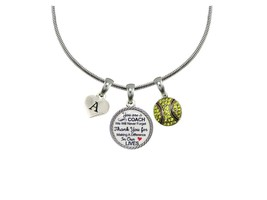 Custom Softball Coach Thank You Gift Silver Necklace Jewelry Choose Initial - $14.87