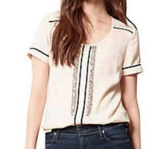 Anthropologie Rhinestone Blouse Petite Large P10 P12 Ivory Brown Piping Top NWT - $55.30