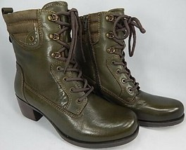 Earth Denali Anchor Sz 10 M EU 42.5 Women's Leather Lace-Up Mid Boots Dark Olive - $108.85