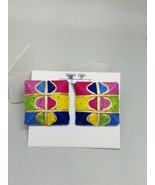 Multi Color Intricate Design Pierced Earrings Vintage New Old Stock - $17.99