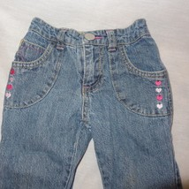 Blue Jeans Denim Hearts Embroidered Size 18 Months Girls Pink - $9.99