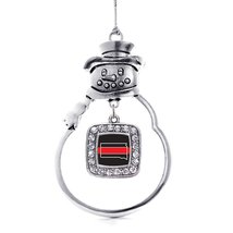 Inspired Silver South Dakota Thin Red Line Classic Snowman Holiday Ornament - $14.69