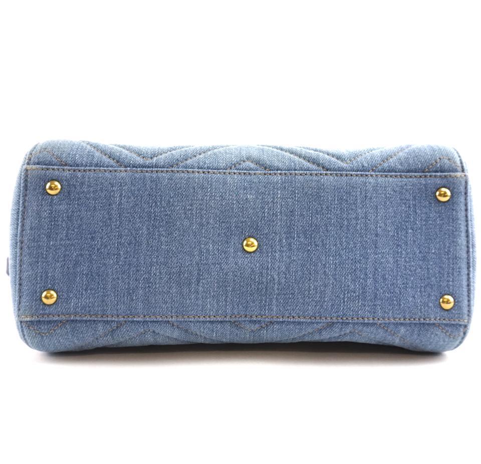 #31642 Gucci Marmont Gg Embroidered Matelasse Logo Tote Blue Denim Shoulder Bag image 4