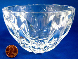 Kosta Boda Bowl Crystal Leaf Pattern Clear Round Signed Swedish 1960s Signed - $18.00