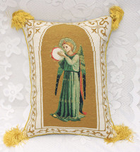 Vatican Library Collections Antique Needlepoint Pillow Cushion ANGELS Green - $46.39
