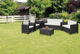 XL Outdoor Brown Rattan Sofa Set Contemporary Garden Sofa Chair Table Patio Set image 5