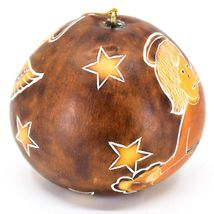 Handcrafted Carved Gourd Christmas Religious Angel Holiday Ornament Made Peru image 4