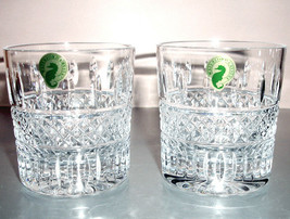 Waterford Irish Lace TUMBLER Double Old Fashioned Glasses Pair (2) Cryst... - $124.90