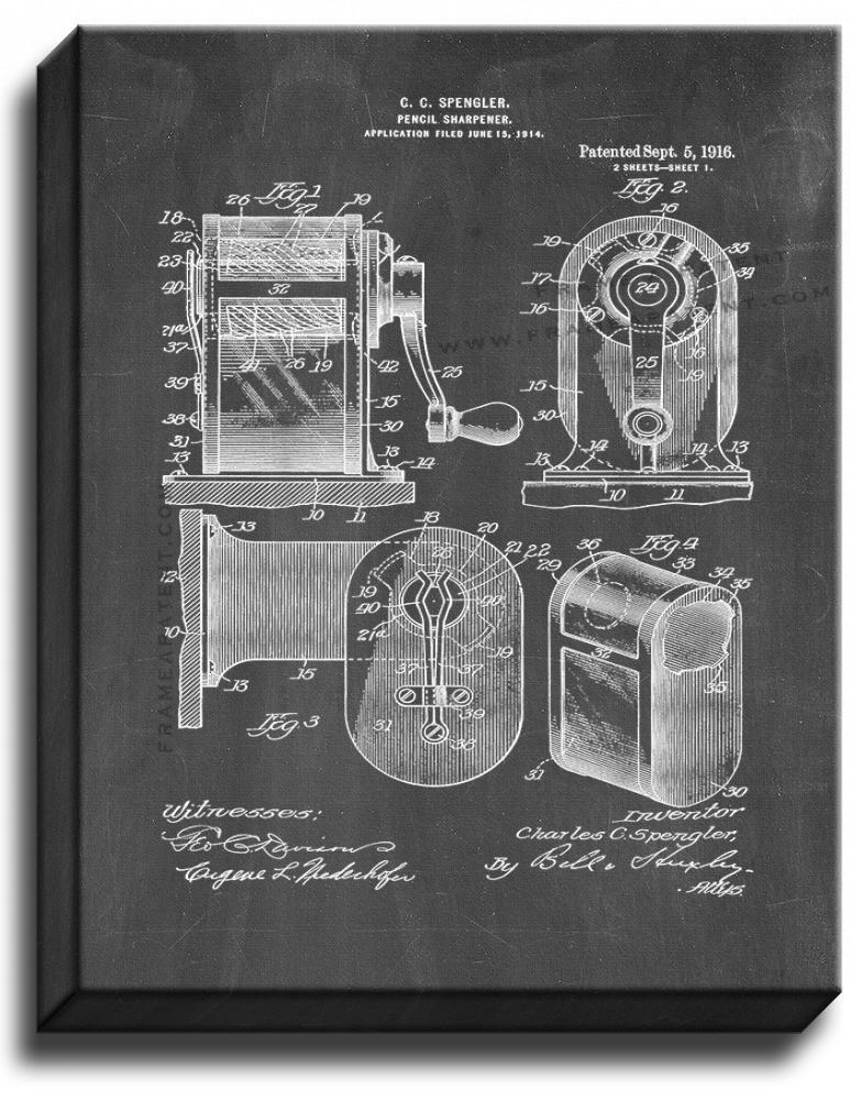 Primary image for Pencil Sharpener Patent Print Chalkboard on Canvas