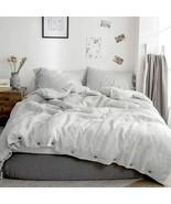 100% Washed Linen Duvet Cover Queen-3 Pcs Solid Natural Flax Bedding Set Grey - $255.55
