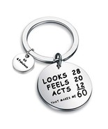 BEKECH 60th Birthday Keychain Happy 60th Birthday Gifts for Women and Me... - $13.01
