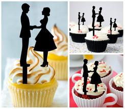 Wedding,Birthday Cupcake topper,silhouette wedding couple holding hands : 10 pcs - $10.00