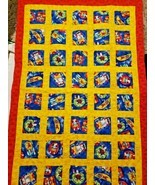 Handmade Baby Quilt Lap Blanket Throw Red Yellow Puppy Dogs Swimming Vac... - £43.18 GBP