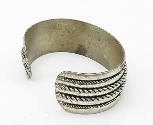 POST TRADING BELL 925 Silver - Vintage Rope Twist Decorated Cuff Bracelet- B5243